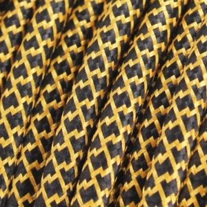 textilkabel-rund-quadrat-zickzack-schwarz-gold-fabriccable-round-square-zigzag-black-gold